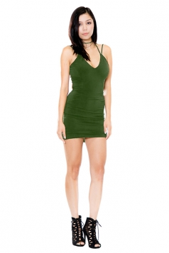 Womens V Neck Strappy Backless Plain Mini Clubwear Dress Army Green