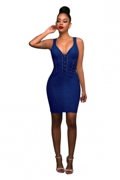 Womens Lace-up V Neck Zipper Back Sleeveless Bodycon Dress Blue