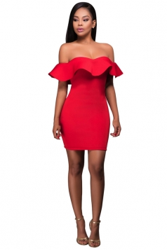 Womens Off Shoulder Ruffled Plain Bodycon Clubwear Dress Red