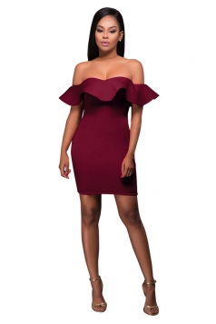 Womens Off Shoulder Ruffled Plain Bodycon Clubwear Dress Ruby