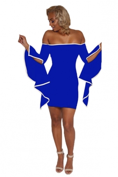 Womens Off Shoulder Asymmetric Sleeve Bodycon Clubwear Dress Blue