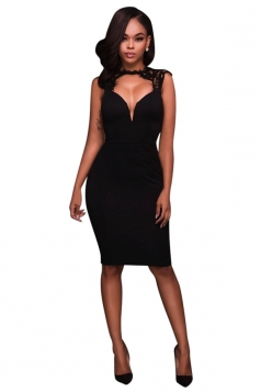 Womens Lace Patchwork Cut Out Back Sleeveless Bodycon Dress Black
