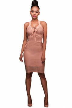 Womens Lace-up V Neck Sleeveless Plain Bodycon Dress Pink