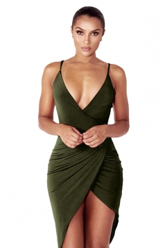 Womens V Neck Draped Irregular Hem Clubwear Dress Army Green