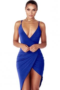 Womens V Neck Draped Irregular Hem Sleeveless Clubwear Dress Blue