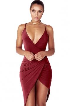 Womens V Neck Draped Irregular Hem Sleeveless Clubwear Dress Ruby