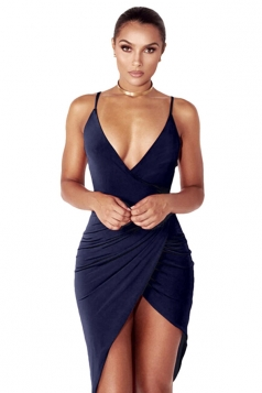 Womens V Neck Draped Irregular Hem Sleeveless Clubwear Dress Navy Blue