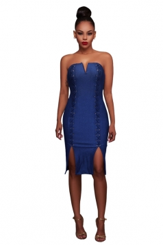 Womens Cross Lace-up Zipper Back Sides Slit Tube Dress Blue