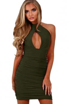 Womens Halter Cut Out Draped Sleeveless Clubwear Dress Army Green