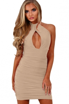 Womens Halter Cut Out Draped Plain Sleeveless Clubwear Dress Apricot
