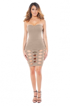 Womens Plain Cut Out Bandage Strapless Tube Dress Apricot