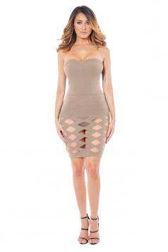 Womens Plain Cut Out Bandage Strapless Tube Dress Apricot
