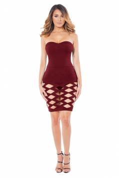 Womens Plain Cut Out Bandage Strapless Tube Dress Ruby