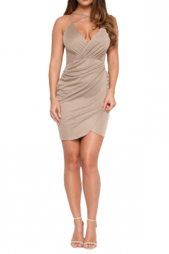 Womens V Neck Draped Spaghetti Straps Clubwear Dress Apricot