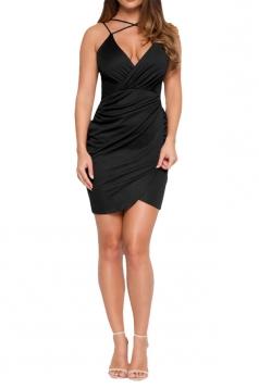 Womens V Neck Draped Spaghetti Straps Clubwear Dress Black
