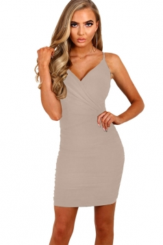 Womens Spaghetti Straps V Neck Plain Bodycon Dress Apricot