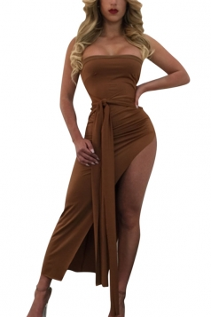 Womens Lace-up Decor High Slit Plain Strapless Tube Maxi Dress Brown