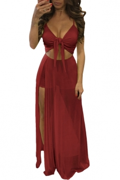 Womens Lace-up Cutout Mesh Splicing Side Slit Maxi Romper Dress Ruby