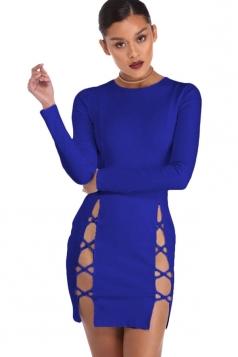 Womens Long Sleeve Cut Out Slit Sides Clubwear Dress Sapphire Blue