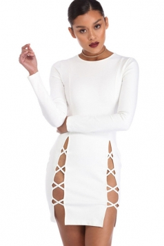 Womens Plain Long Sleeve Cut Out Slit Sides Clubwear Dress White
