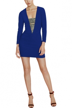 Womens Bandage Deep V Neck Long Sleeve Mini Dress Blue