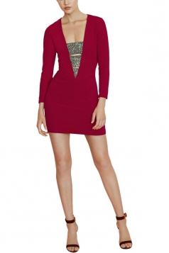 Womens Bandage Deep V Neck Long Sleeve Mini Dress Red