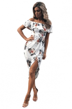Womens Sexy Ruffle Boat Neckline Floral Slits Clubwear Dress White