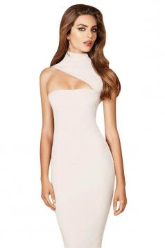 Womens Sexy High Collar Sleeveles Slimming Bodycon Dress White