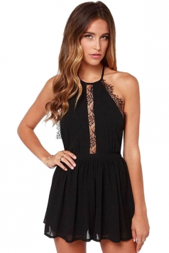 Ladies Sexy Halter Backless Lace Patchwork Clubwear Dress Black
