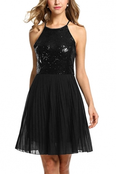 Ladies Halter Open Back Sequins Chiffon Pleated Evening Dress Black