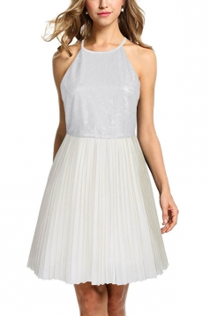 Ladies Halter Open Back Sequins Chiffon Pleated Evening Dress White