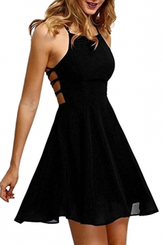 Womens Sexy Halter Open Back Cross String Clubwear Dress Black
