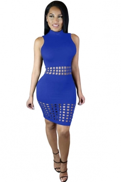 Womens Sexy Hollow Out Sleeveless Slimming Clubwear Dress Blue