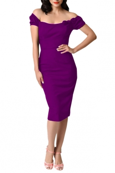 Womens Off Shoulder Bow Decor Short Sleeve Plain Midi Dress Purple