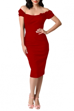 Womens Off Shoulder Bow Decor Short Sleeve Plain Midi Dress Red