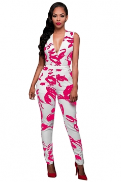 Womens Deep V Neck Printed Sleeveless Jumpsuit Rose Red