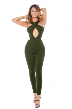 Womens Cut Out Cross Bandage Zipper Back Plain Jumpsuit Army Green