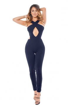Womens Cut Out Cross Bandage Zipper Back Plain Jumpsuit Navy Blue