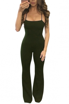 Womens Sexy Halter Cross Strings Backless Wide Leg Jumpsuit Army Green