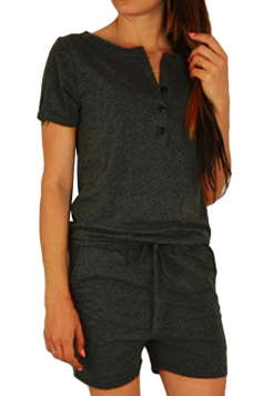 Womens Buttons V-neck Short Sleeve Drawstring Waist Romper Dark Gray