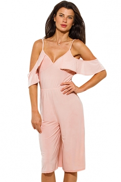 Womens V Neck Cold Sleeve Backless Plain Palazzo Romper Pink