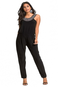 Womens Sleeveless Tunic Elastic Waist Jumpsuit Black