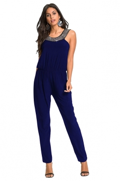 Womens Sleeveless Tunic Elastic Waist Jumpsuit Sapphire Blue