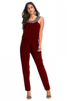 Womens Sleeveless Tunic Elastic Waist Jumpsuit Ruby