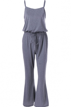 Womens Spaghetti Straps Drawstring Waist Bell Bottom Jumpsuit Gray