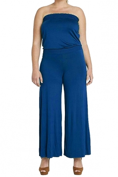 Womens Strapless High Waist Plain Palazzo Tube Jumpsuit Blue