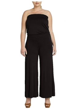 Womens Strapless High Waist Plain Palazzo Tube Jumpsuit Black