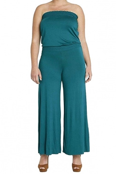 Womens Strapless High Waist Plain Palazzo Tube Jumpsuit Dark Green