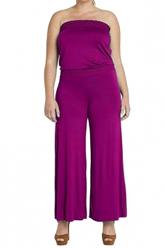 Womens Strapless High Waist Plain Palazzo Tube Jumpsuit Rose Red