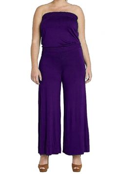 Womens Strapless High Waist Plain Palazzo Tube Jumpsuit Purple